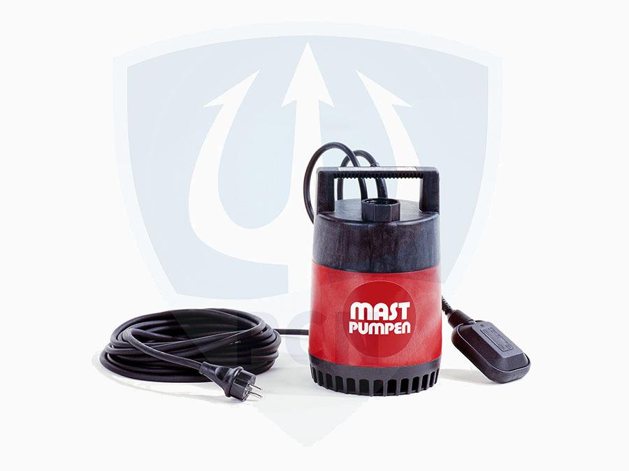 Mast Kellerentwässerungspumpe K5S mit angebauten Schwimmerschalter - 230 Volt mit 10m Kabel - serienmäßige Flachsaugeinrichtung