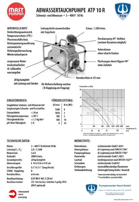 Mast Abwassertauchpumpe ATP10R 400V Datenblatt