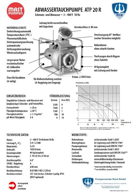 Mast Abwassertauchpumpe ATP20R 400V Datenblatt