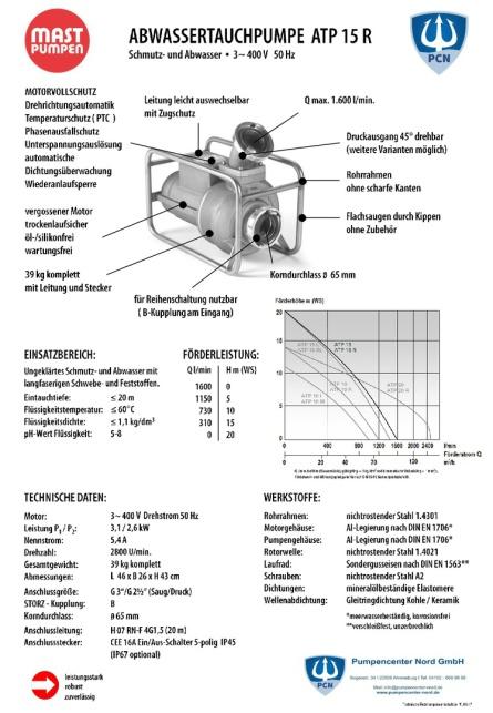 Mast Abwassertauchpumpe ATP15R 400V Datenblatt