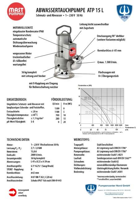 Mast Abwassertauchpumpe ATP15L 230V Datenblatt