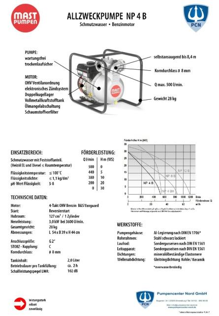 Mast Allzweckpumpe NP 4 B, 4-Takt-Benzinmotor 3 kW, C-Saug- und Druckanschluss Datenblatt