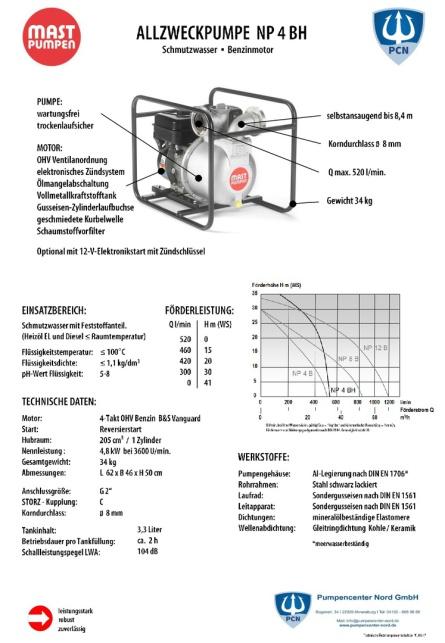 Mast Allzweckpumpe NP 4 BH, 4-Takt-Benzinmotor 4,8 kW, C-Saug- und Druckanschluss Datenblatt