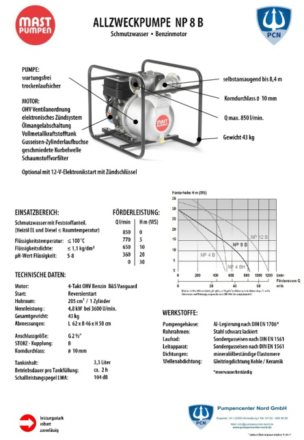 Mast Allzweckpumpe NP 4 B, 4-Takt-Dieselmotor 3,4 kW, C-Saug- und Druckanschluss,Qmax. 520Liter/min.,Datenblatt,