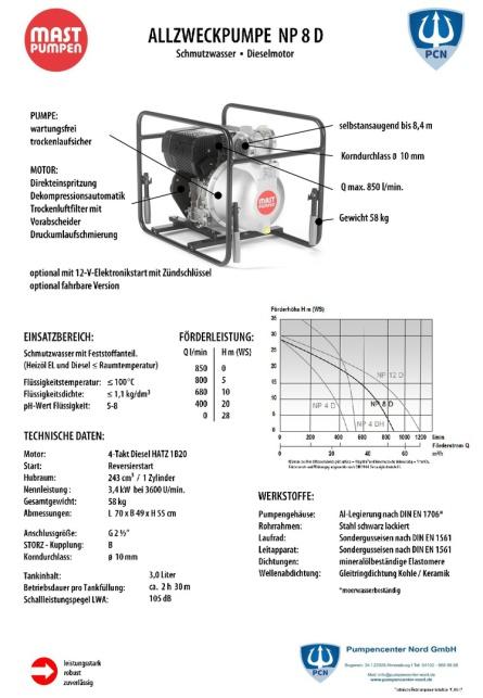 Mast Allzweckpumpe NP 8D, 4-Takt-Dieselmotor 3,4 kW, B-Saug- und Druckanschluss,Qmax. 850Liter/min., Datenblatt,
