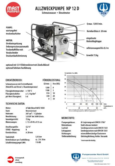 Datenblatt für Mast NP12 Dieselausführung, Motorleistung 5.0kw, Gewicht 72Kg,