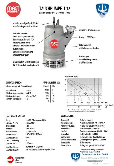 Mast Tauchpumpe T 12 400 V 1300 l/min Datenblatt