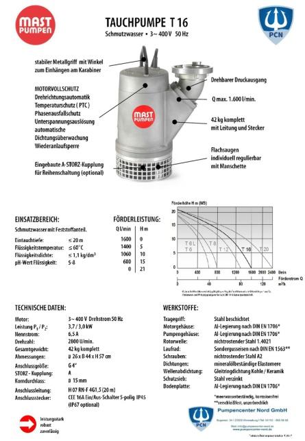 Mast Tauchpumpe T16 400 V 1600 l/min Datenblatt