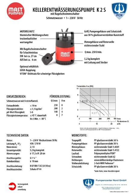 Datenblatt,Mast Kellerentwässerungspumpe K2S, mit angebauten Schwimmerschalter, 230 Volt, 10m Anschlusskabel, serienmäßige Flachsaugeinrichtung,