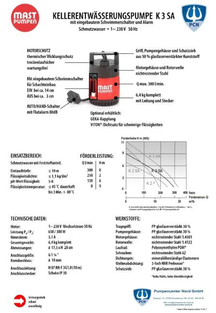Mast Kellerentwässerungspumpe K3 SA mit internem Schwimmerschalter,Überflutungsalarm,230 Volt, mit 10m Kabel,serienmäßige Flachsaugeinrichtung,Datenblatt,