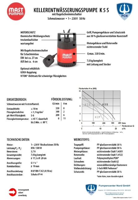 Datenblatt Mast Kellerentwässerungpumpe k5-S, aussenliegender Schwimmer, wartungsfrei, trockenlaufsicher,
