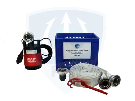 Notfallbehaelter Wasser Standard 250Liter/min.- C-Schlauch, Kupplungsschlussel, Auslaufstutzen, 90° Bogen, mit integrierter Flachsaugeinrichtung und aussenliegendem Schwimmer