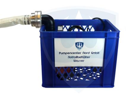Notfallbehälter Wasser mit 90° Bogen angeschlossen