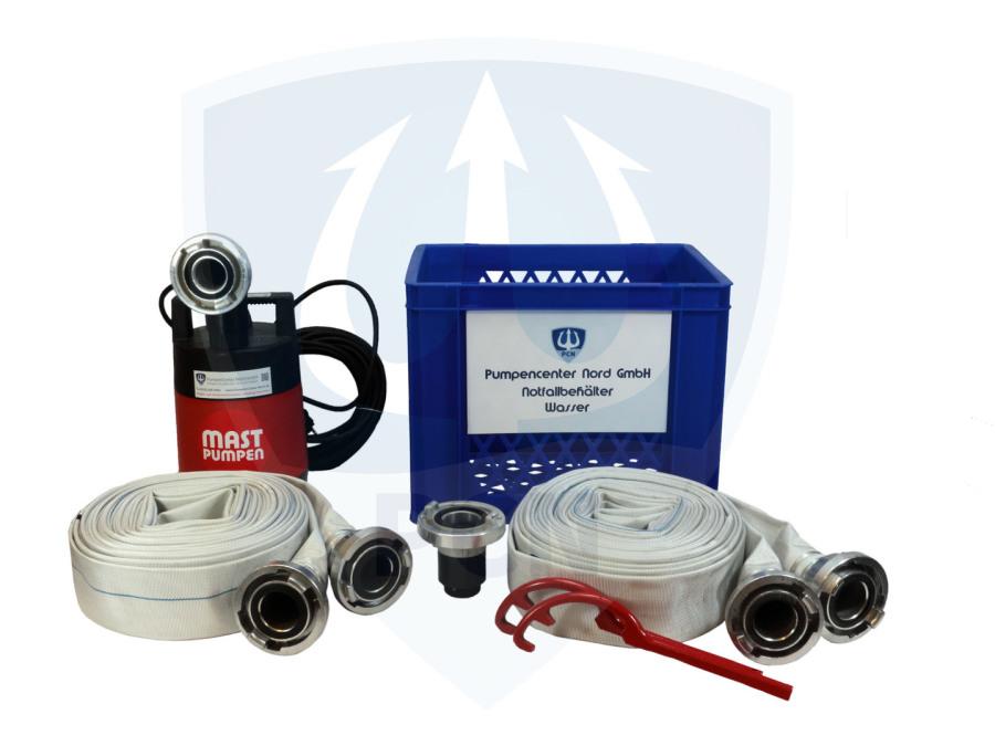 Notfallbehaelter Wasser Premium 330Liter/min.- 2 x C-Schlauch 15m, Kupplungsschlussel, Auslaufstutzen, 90° Bogen, mit integrierter Flachsaugeinrichtung