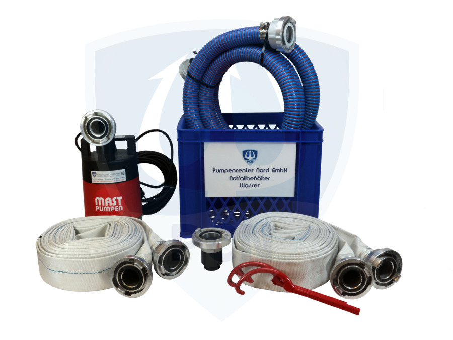 Notfallbehaelter Wasser Premium 330Liter/min.- 2 x C-Schlauch 15m, Kupplungsschlussel, Auslaufstutzen, 90° Bogen, 3m Spiralschlauch, mit integrierter Flachsaugeinrichtung