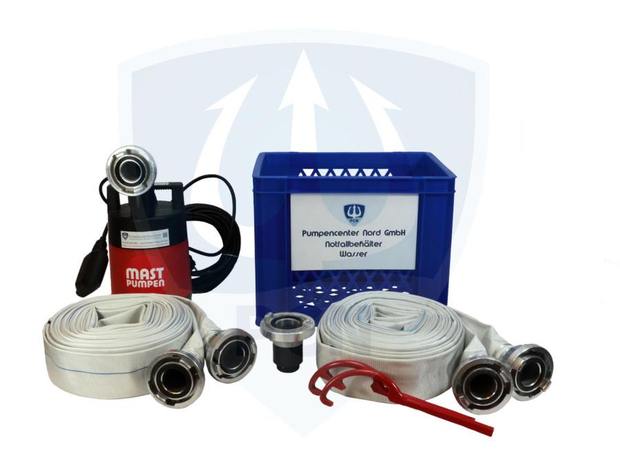 Notfallbehaelter Wasser Premium 330Liter/min.- 2 x C-Schlauch 15m, Kupplungsschlussel, Auslaufstutzen, 90° Bogen, mit integrierter Flachsaugeinrichtung und aussenliegendem Schwimmer