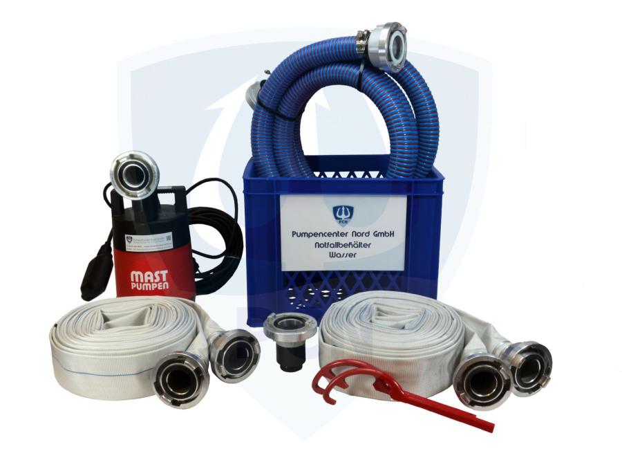 Notfallbehaelter Wasser Premium 330Liter/min.- 2 x C-Schlauch 15m, Kupplungsschlussel, Auslaufstutzen, 90° Bogen, 3m Spiralschlauch, mit integrierter Flachsaugeinrichtung und aussenliegendem Schwimmer