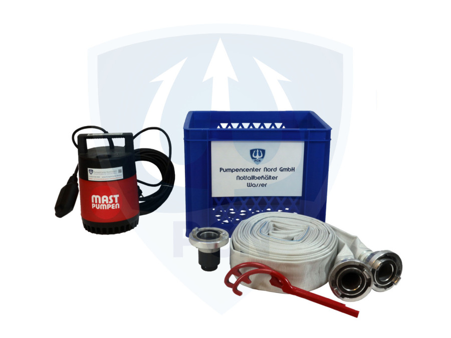 Notfallbehaelter Wasser Premium 330Liter/min.- C-Schlauch, Kupplungsschlussel, Auslaufstutzen, mit integrierter Flachsaugeinrichtung und aussenliegendem Schwimmer